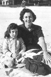 Lyndall and her mother on a beach