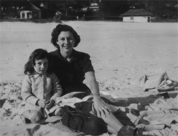 Lyndall Gordon and her mother on a beach