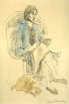 A drawing of Virginia Woolf absorbed in her writing by Richard Kennedy